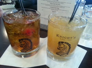 A Manhattan and a Rye & Ginger from Knight's Downtown in Ann Arbor.